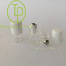 1ml clear small empty perfume bottles,glass roll on bottle with stainless steel roller ball and black cap