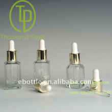 TP-2-32-1 15ml 30ml clear square cosmetic glass bottle with dropper