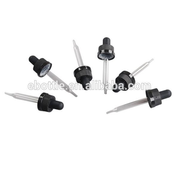 20/400 Thin Ribbed Child Resistant caps with straight glass pipette Boston Rounds droppers and silicon,TPE,Butyl,NBR bulb.